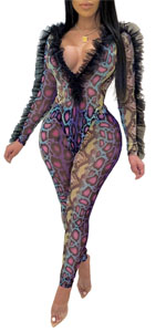 Sexy Two Piece See Through Snakeskin Jumpsuit for Women
