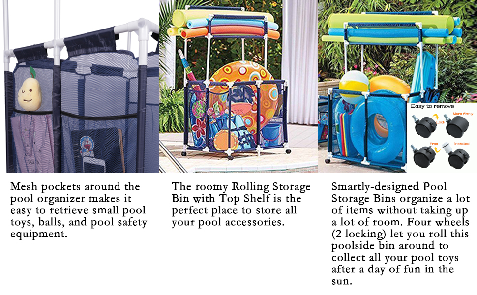 Amazon Com Puting Blue Pool Storage Bin 36x24x71 For Pool Floats Goggles Beach Balls Swim Toys Accessories Air Dry Items Quickly And Easily Roll The Mesh Storage Bins To Home Garage Or Shed