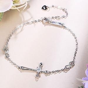 silver jewelry Cross bracelet