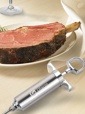stainless steel meat injector syringe kit handy kitchen gadget  tool with nice box