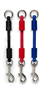 Medium jerk-ease bungee dog leash collar harness attachment extension extender black red blue