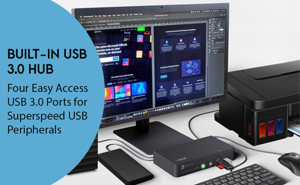 Built in USB 2.0 Hub for easy access USB 3.0 port superspeed usb peripherals