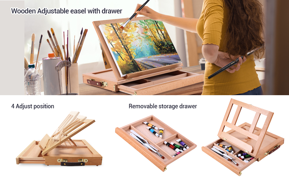 Artist  Painting Set  48 Non Toxic Acrylic Paint Tubes Wood Table-Top Easel Box Art Painting Brushes