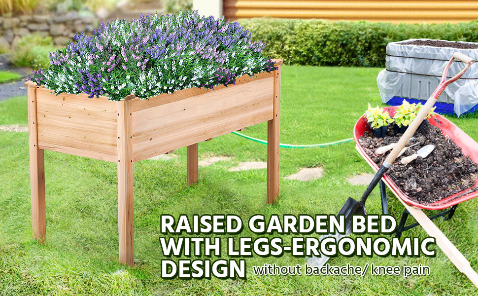 Amazon Com Yaheetech Wooden Raised Elevated Garden Bed Planter