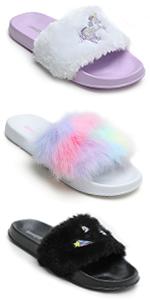 Girls Faux Fur Slides