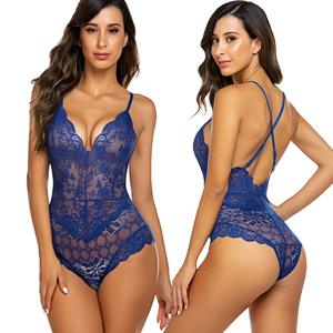 blue lingerie bodysuit