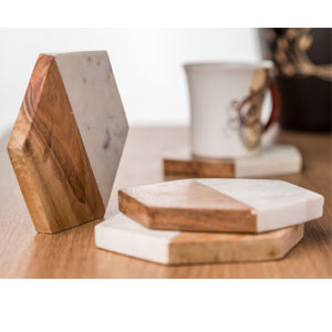 Marble & Wooden Coaster Set