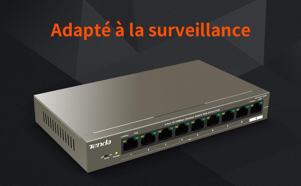Tenda Poe Ethernet Switch 9 Ports 10 100 Mbps Tef1109p 8 102w 8 Ports Poe 102 W Ieee 802 3af At Plug Und Play Desktop Format Metallgehäuse Gewerbe Industrie Wissenschaft
