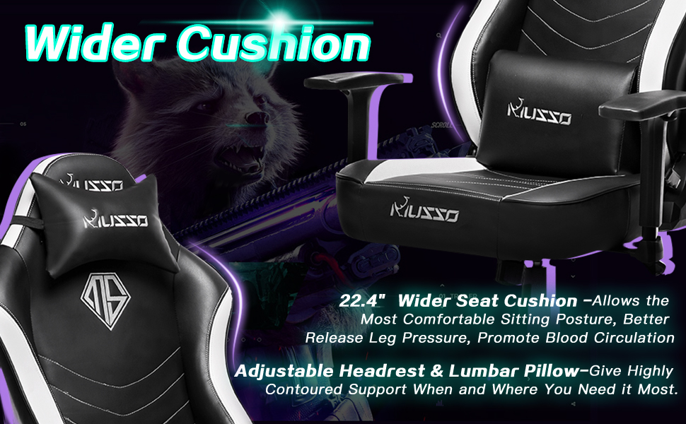 best gaming chair wider cushion