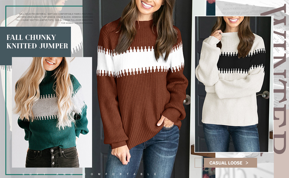 Imysty Womens Pullover Sweaters Long Sleeve Casual Chunky Knitted Tops