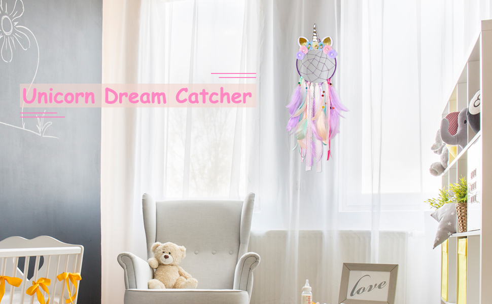 Amazon Com Basumee Unicorn Dream Catcher Wall Decor Cute Feather Dreamcatcher Wall Hanging For Bedrooms Party Lavender Home Kitchen