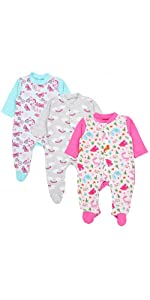 Pack of 3 TupTam Baby Girls Trousers with Feet