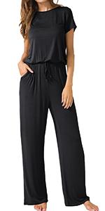 short sleeve summer casual black jumpsuit rompers