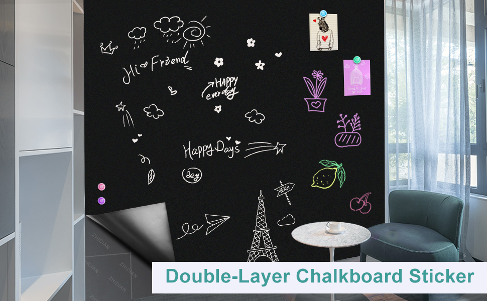 double layer chalkboard sticker for wall magnetic