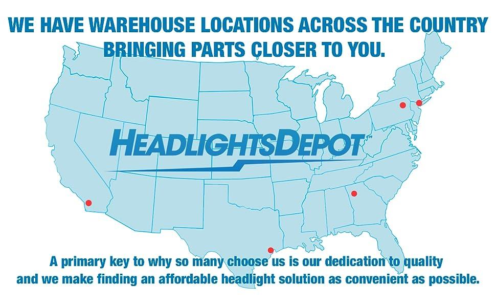 headlights depot map shipping states