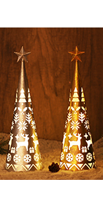11.6 Inch Lighted Christmas Table Decorations with Star, 2 Pack