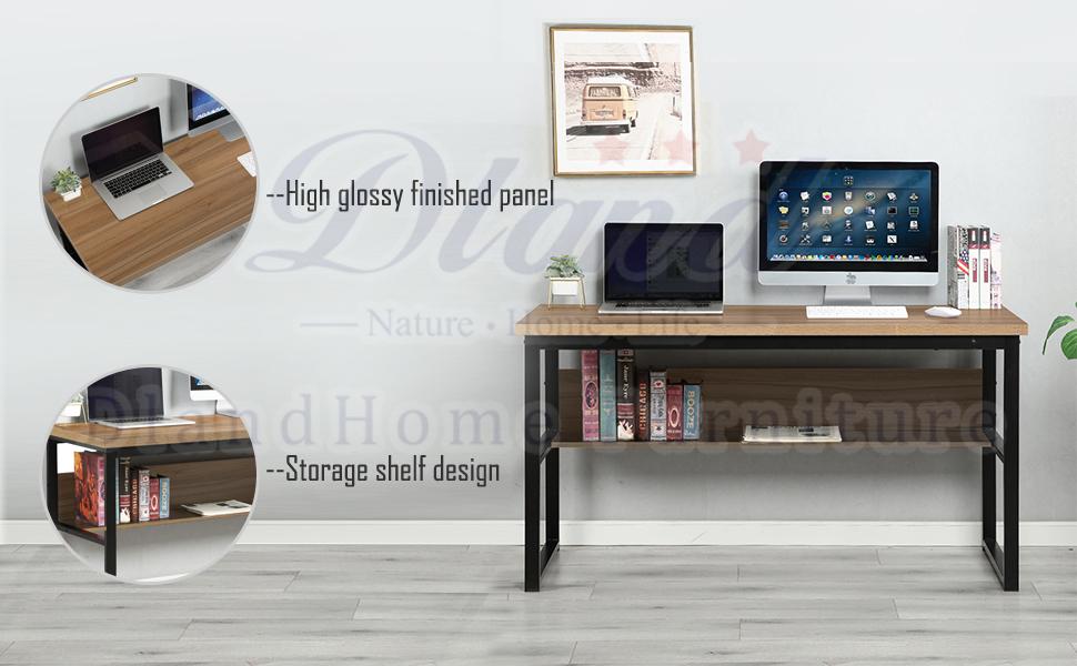 DlandHome Office Desk with Storage Shelf