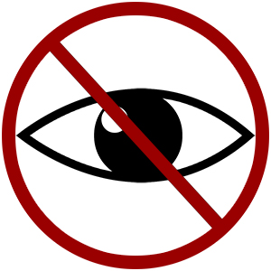 picto-gramm icon blick-schutz auge durchgestrichen stopp-schild schwarz rot kein spannen gucken