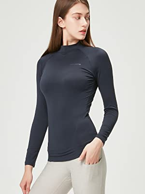 DEVOPS Womens 2 Pack Thermal Heat-Chain Compression Baselayer Tops Mock Turtleneck Long Sleeve T-Shirts