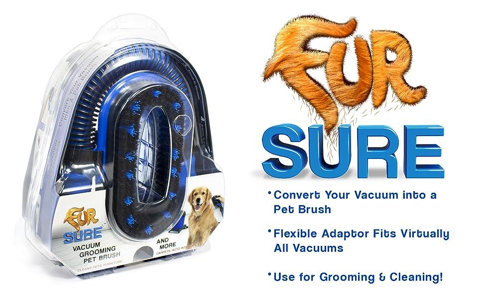 Fur Sure, Vacuum Tool, Dog hair brush, deshedding tool, dog cleaning, dog grooming, grooming tool,