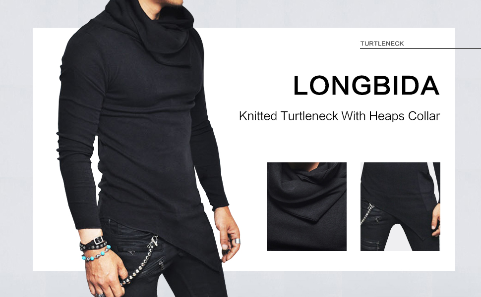 Baseball knitted turtleneck sweater men longline hoodie men streetwear fashion hipster sweatshirt