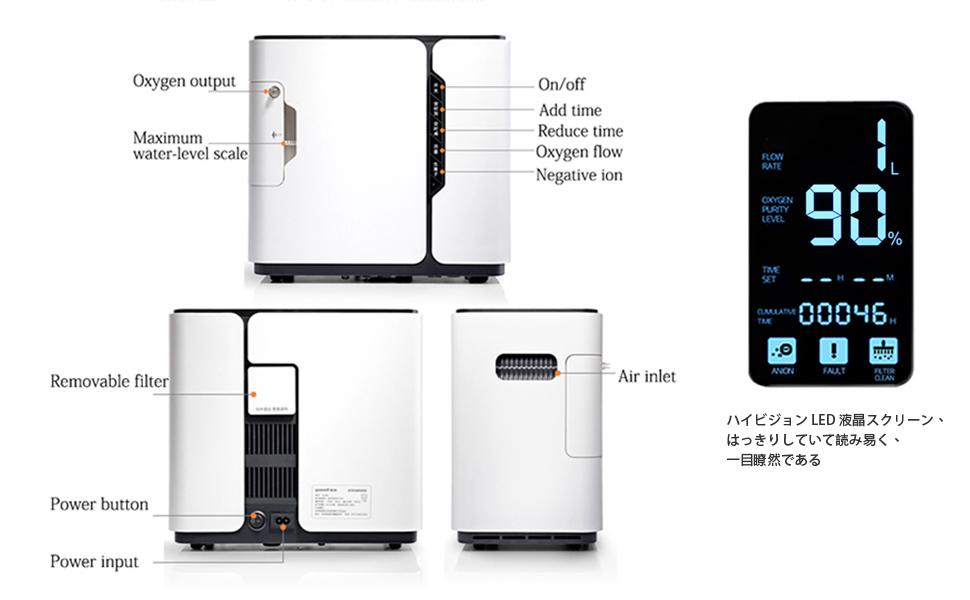 yuwell Concentrador de oxígeno 1-5L/min 90%-30% pureza Generador ...