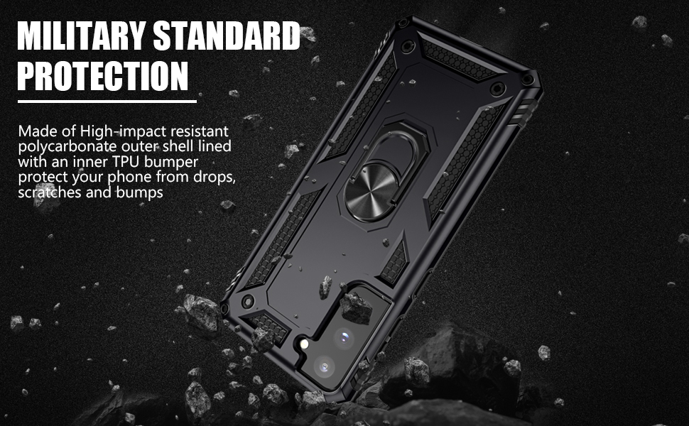 High-impact resistant polycarbonate outer shell lined with TPU bumper protect your phone from drops