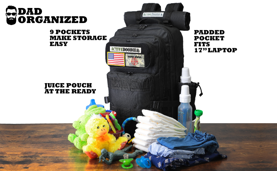 Tactical diaper bag backpack for men daddy diaper bag diaper bag for dads Black military mens HSD