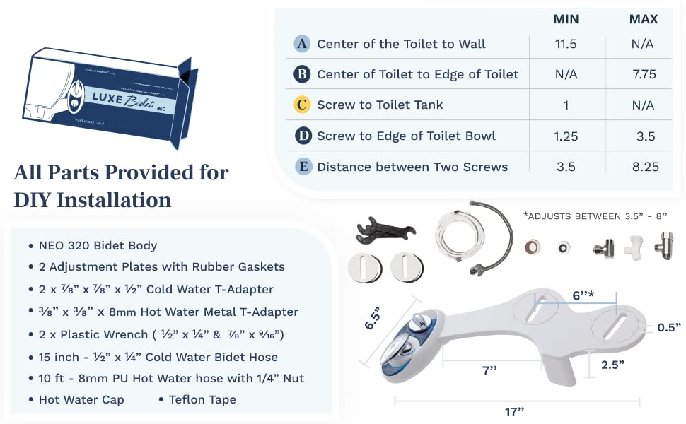 All parts are provided for a seamless DIY installation with your LUXE Bidet purchase