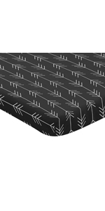 Sweet Jojo Designs Black and White Woodland Arrow Fitted Mini Portable Crib Sheet for Rustic Patch