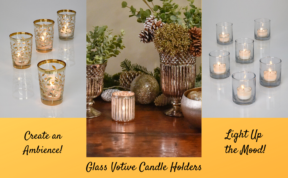 glass votive candle holders textured mercury