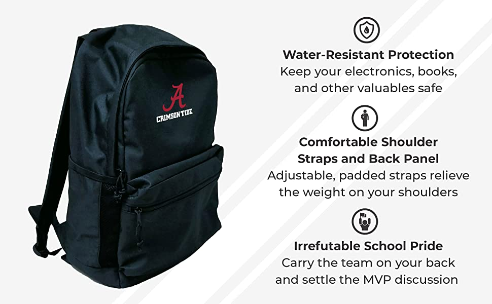Water-Resistant Protection. Comfortable Shoulder Straps and Back Panel. Irrefutable School Pride.