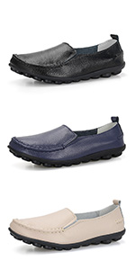 women loafers casual driving  mocs  flats shoes comfort walking loafers leather loafers rubber sole