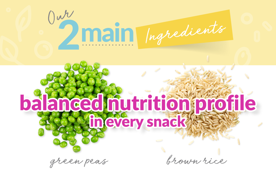 Our 2 main ingredients: green peas and brown rice