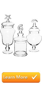 Seashell Handle Clear Glass Apothecary Jars/Food Storage Canisters/Decorative Centerpieces