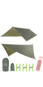 12ft XL TARP Hammock Waterproof RAIN Fly Tent TARP 185incn Centerline Lightweight Ripstop Fabric