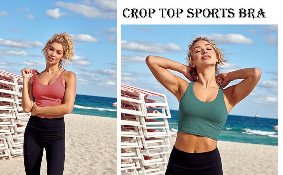 Women Crop Tops Workout Longline Sports Bra Teen Girls Yoga Fitness Running Padded Gym Camisole
