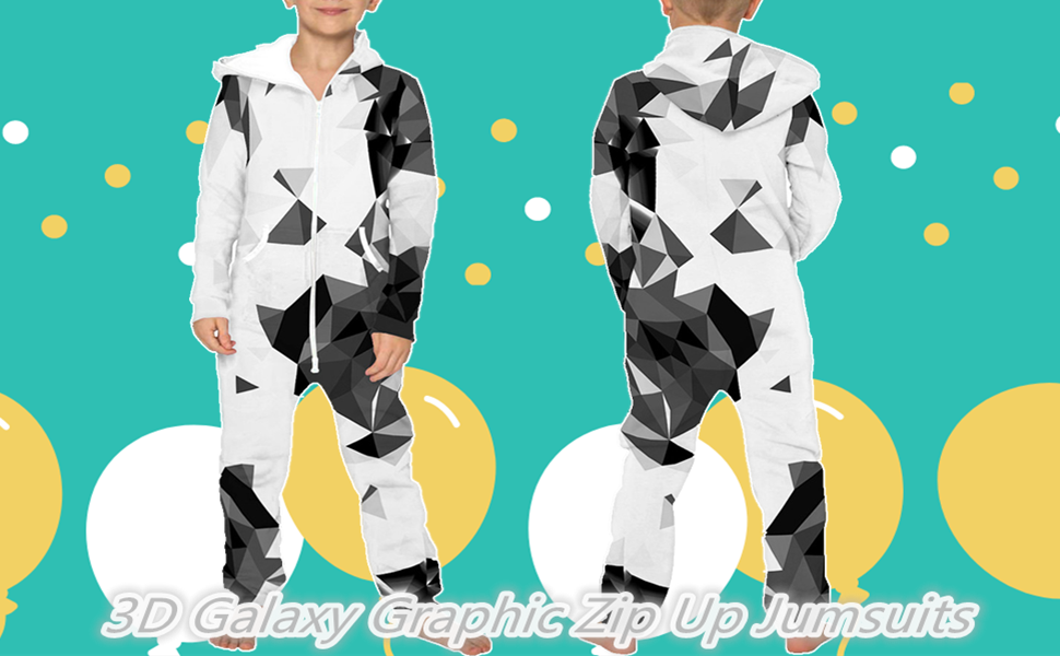 Details about  /Girls Boys Unisex Paint Starry Night Galaxy Design Zip-Up Pajamas 11-12T H2-1 MG
