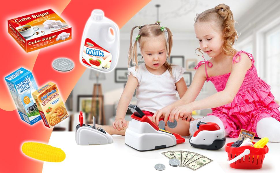Buyger Caja Registradora Juguetes Supermercado Electrónica Juguetes con Sonido y Luz Juego de Imitación para 3 4 5 Años Niños Niñas: Amazon.es: Juguetes y juegos