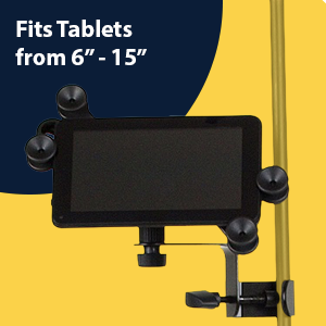 Hola! Music HM-MTH Microphone Music Stand Tablet Smartphone Holder Mount Devices from 6 to 15 Inch