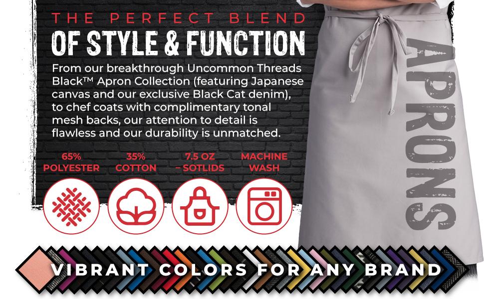 restaurant apron shirt blue red white black simple classic long short tall extra large medium apron