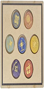 Crocon Seven Chakra Gemstone Engraved Round Shape Stone Set