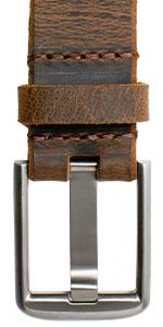 Nickel-Free Titanium Wide Pin Distressed Brown Leather Belt