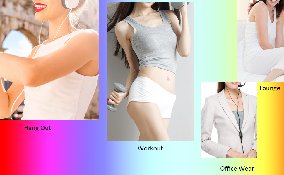 3Pack Super Comfy Women Camisole with Built-in Padded Bra Wide Strap Athletic Vest Stretchy Tank Tops Undershirt ABC Cup