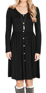 GRECERELLE Women's Long Sleeve V Neck Button Casual Plain Swing Dresses Wasp Down A-Line Dress