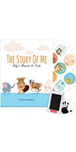 Baby memory book milestone stickers ink pad Photo Album Journal Scrapbook record