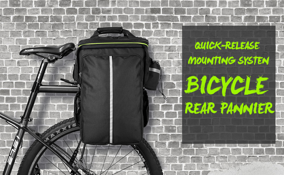 Reflective Trim Carrying Handle Large Pockets Double Pannier Water Resistant Cycling Side BagsRain