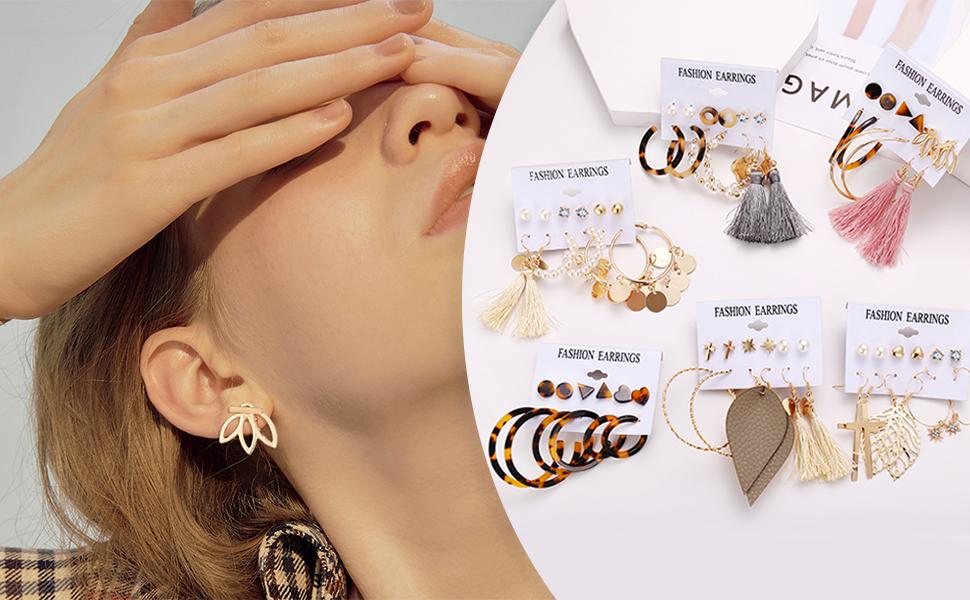 pendientes de aro con perlas y borla pendientes de aro coloridos para mujeres Juego de 36 pares de pendientes de moda para mujeres y ni/ñas de acr/ílico bohemio