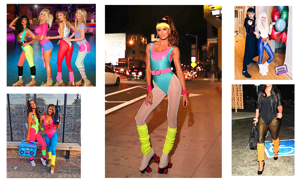 Luxury Womens Neon Leg Warmer Fishnet Gloves Set Rave Bright 80/'s Disco Dance