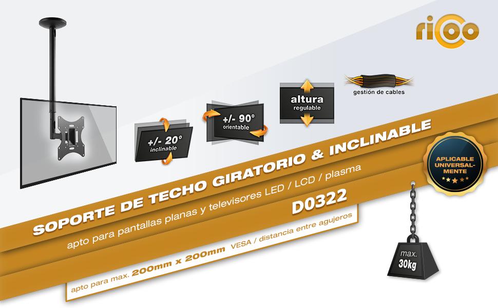 RICOO D0322, Soporte TV Techo, Giratorio, Inclinable, Televisión ...